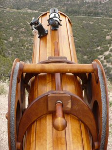 Wooden telescope view along top of tube